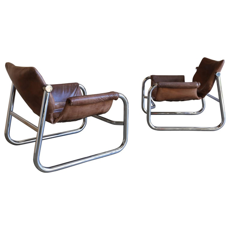 "Patenated Leather ""Alpha"" Lounge Chairs by Maurice Burke for Pozza"