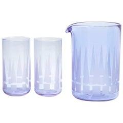 Point Cocktail Set in Neodymium Handblown Casted Glass