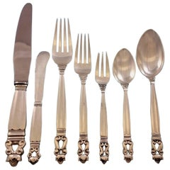 Acorn by Georg Jensen Sterling Silver Dinner Flatware Set for Eight Service