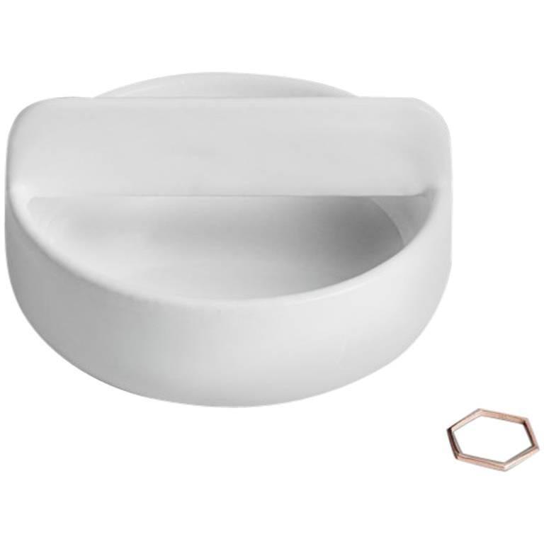 Short Trestle Bowl / Vessel in Contemporary 3D Printed Gloss White Porcelain