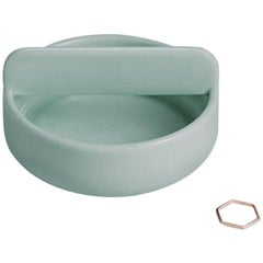 Short Trestle Bowl / Vessel in Contemporary 3D Printed Gloss Celadon Porcelain