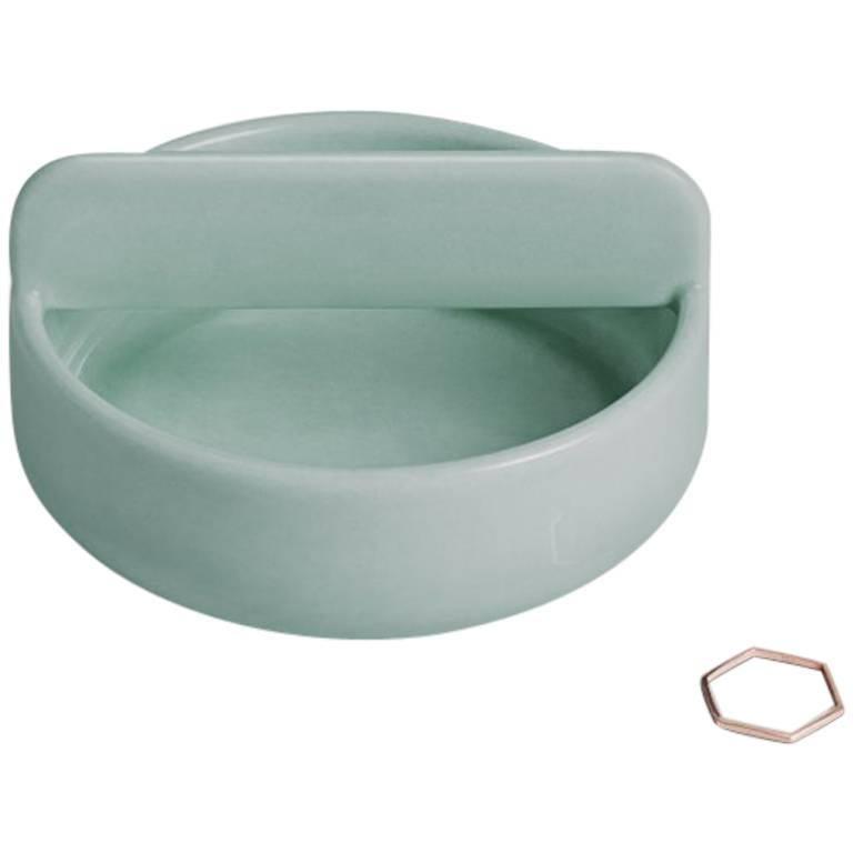 Short Trestle Bowl / Vessel in Contemporary 3D Printed Gloss Celadon Porcelain