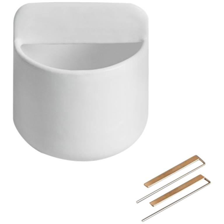 Tall Trestle Bowl / Vessel in Contemporary 3D Printed Gloss White Porcelain