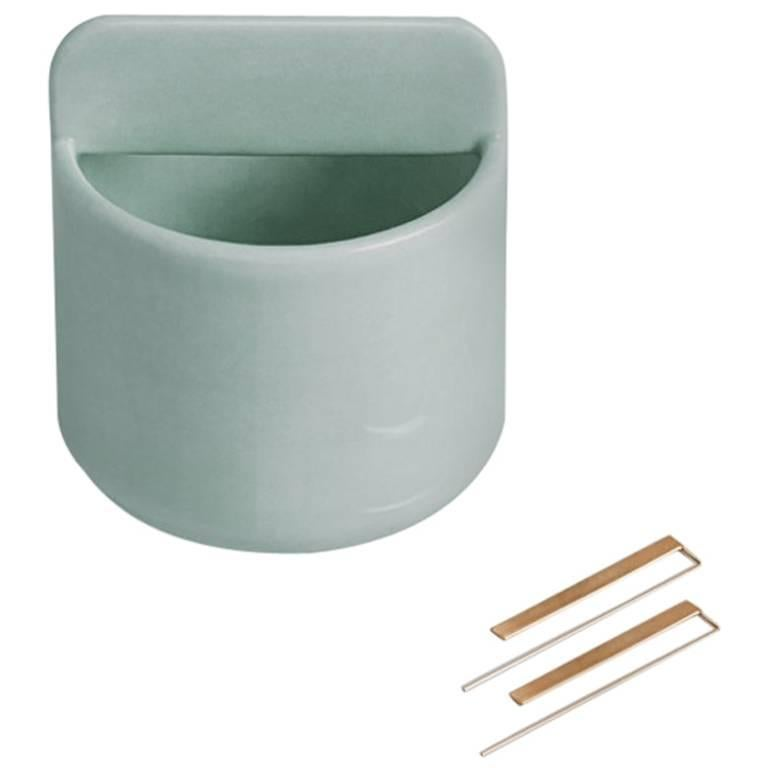 Tall Trestle Bowl / Vessel in Contemporary 3D Printed Gloss Celadon Porcelain