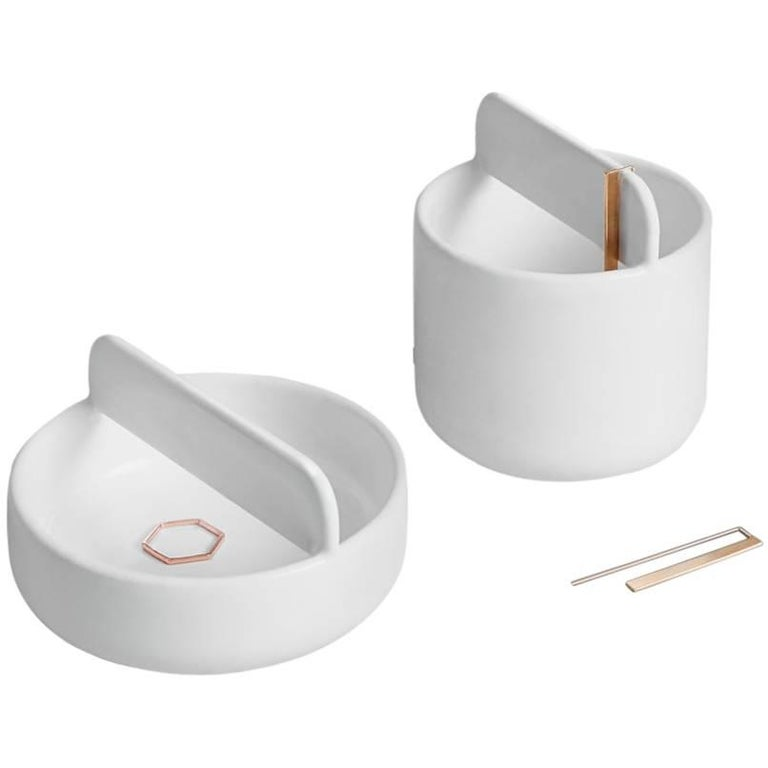 Trestle Bowl / Vessel Set in Contemporary 3D Printed Gloss White Porcelain