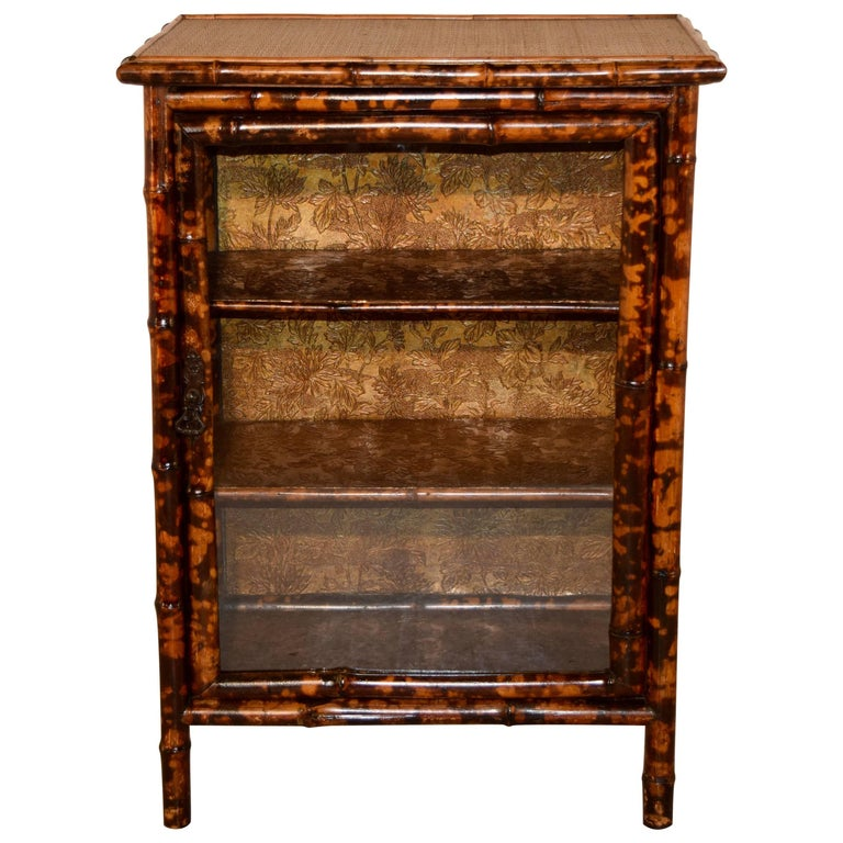 19th Century French Bamboo Glazed Bookcase