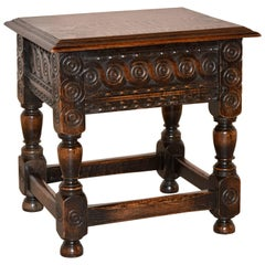 19th Century Oak Stool with Lift Top