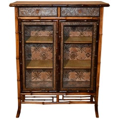 19th Century Bamboo Bookcase with Glazed Doors