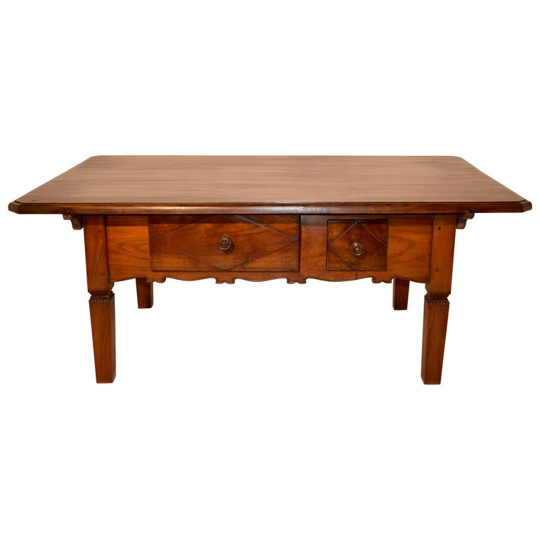 19th Century Swiss Cherry Coffee Table with Two Drawers