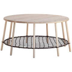 Coffee Table in Solid Canadian White Ash with Steel Ring and Netting