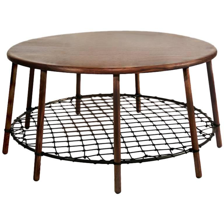 Findhorn Side Table in Solid American Walnut with Steel Ring and Netting
