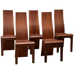 Set of Five High Back Rosewood Bent Plywood Chairs by Hans Karlsson