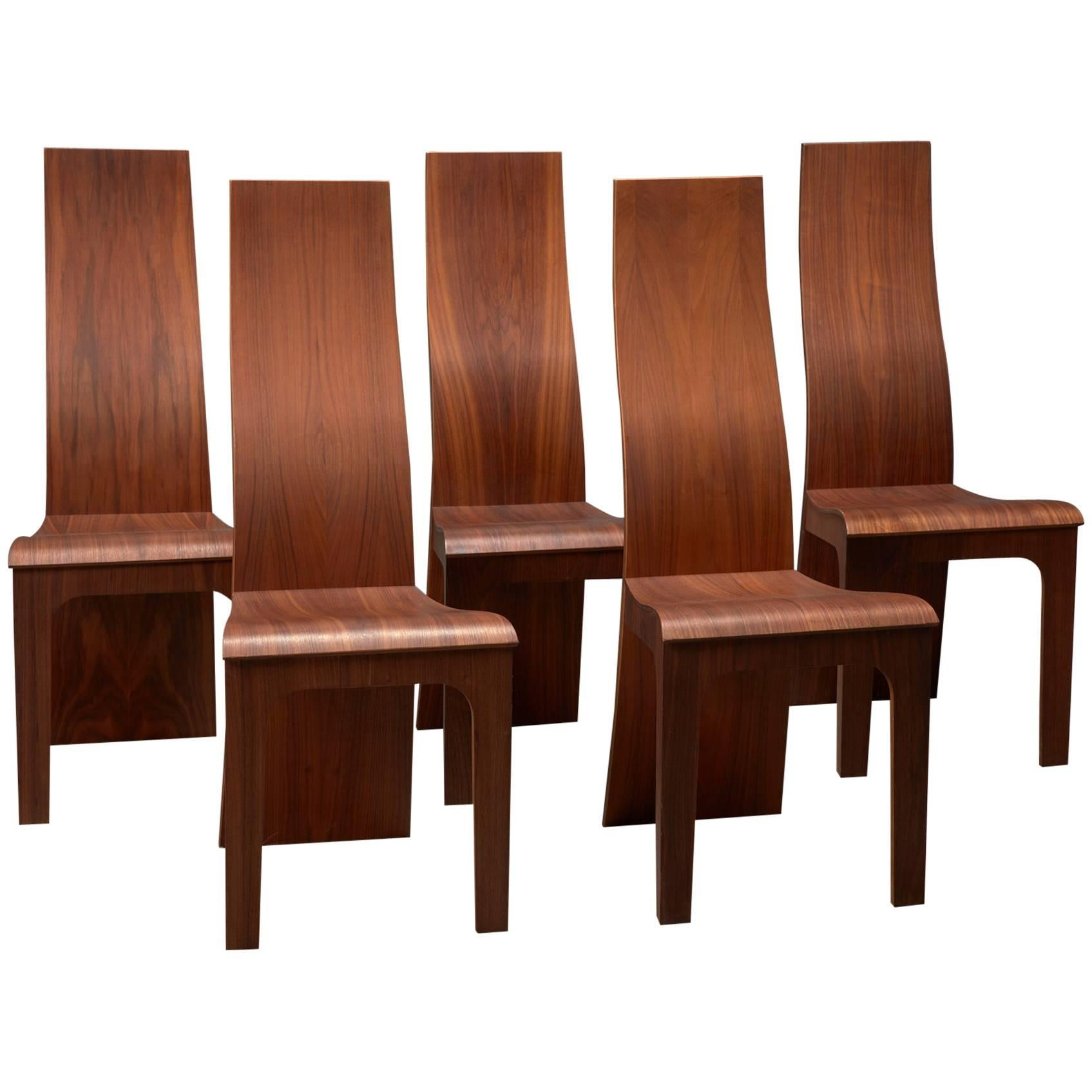 Set Of Five High Back Rosewood Bent Plywood Chairs By Hans Karlsson For Sale