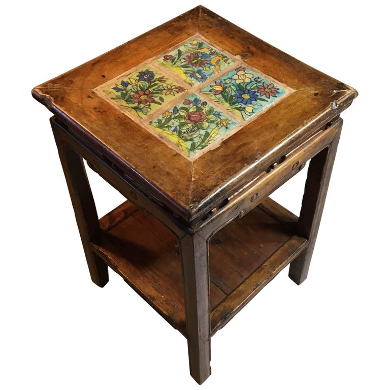Chinese Wood Table ~ Antique chinese wood side table or end for sale at
