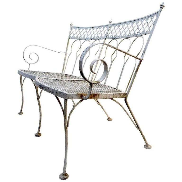 Wrought Iron Garden Bench with Quatrefoil Motif Backrest