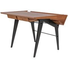 Oak Desk with Integrated Shelf and Ebonized Legs by Hartmut Lohmeyer