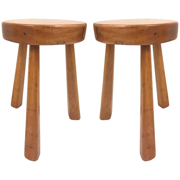 Charlotte Perriand for Les Arcs stools, 1960s, offered by Flavor