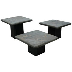 Trio of Marcus Kingma Brutalist Stone Coffee Tables, Dutch Design, 1970s