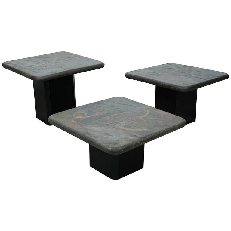 Trio Of Marcus Kingma Brutalist Stone Coffee Tables Dutch Design 1970s For Sale At 1stdibs