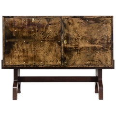 1950s Aldo Tura Lacquered Goatskin Cabinet Drybar for Tura Milano