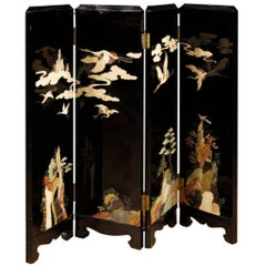 French Lacquered Chinoiserie Screen from 20th Century
