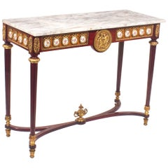 Vintage French Ormolu and Porcelain Mounted Console Table, Late 20th Century