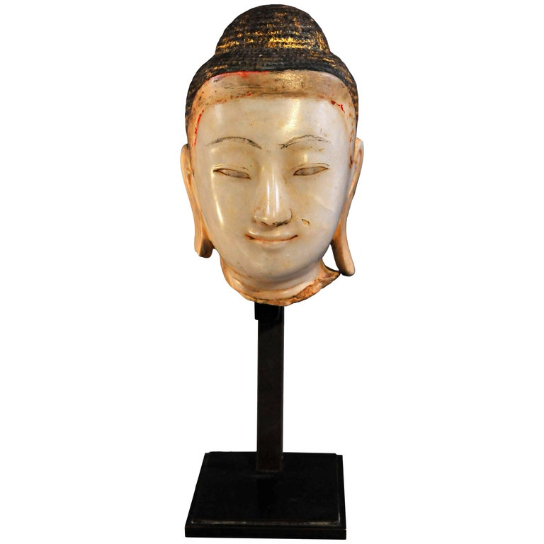 19th Century, Alabaster with Lacquer Buddha Head, Mandalay Period, Art of Burma