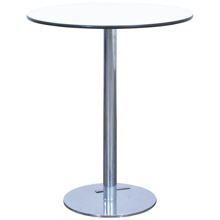 Designer Table White Wood Chrome Swiss Air Lounge Bistro Round Modern For Sale At 1stdibs