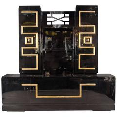Important and Stunning Custom Cabinet in Black Lacquer & Gilt by James Mont