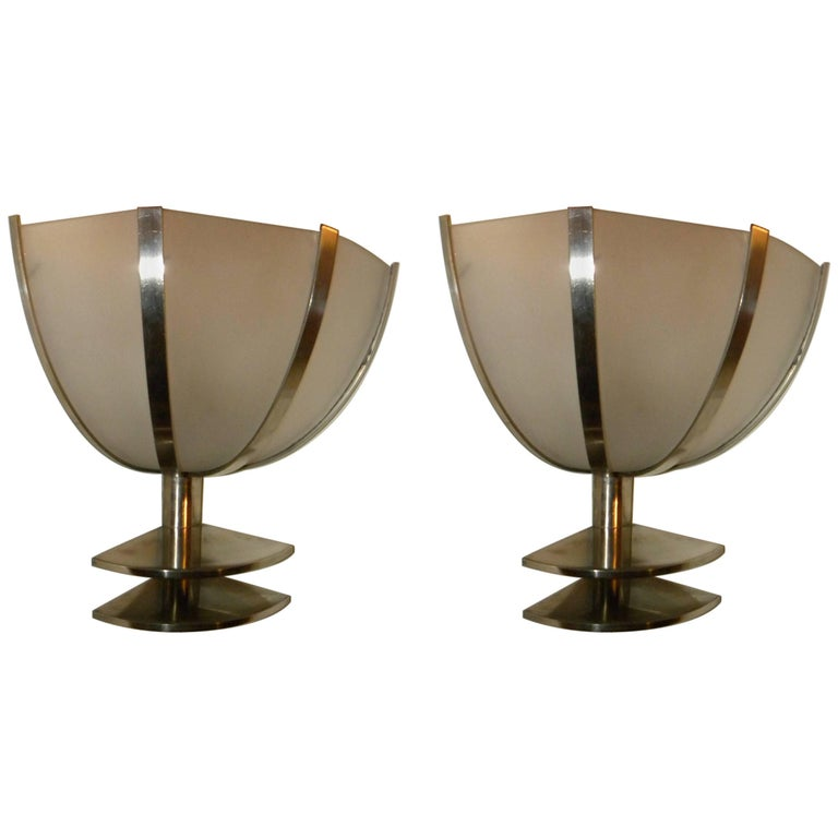 Art Deco Industrial French Sconces Corner Lights Two Pairs
