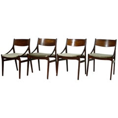 Four Dining Chairs by Vestervig Erikson for Brdr Tromborg Lystrup, Denmark 1960s