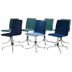 Brabantia Velvet Dining Chairs, Holland, 1960s