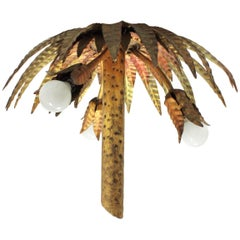 Unique Hollywood Regency Gilt Iron Palm Tree Ceiling Light Fixture, Spain, 1950s
