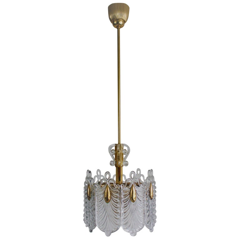 Midcentury Gilt Brass and Glass Chandelier by Kaiser, Germany, circa 1960s