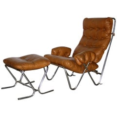 Midcentury Cognac Leather and Tubular Chrome Lounge Chair with Ottoman