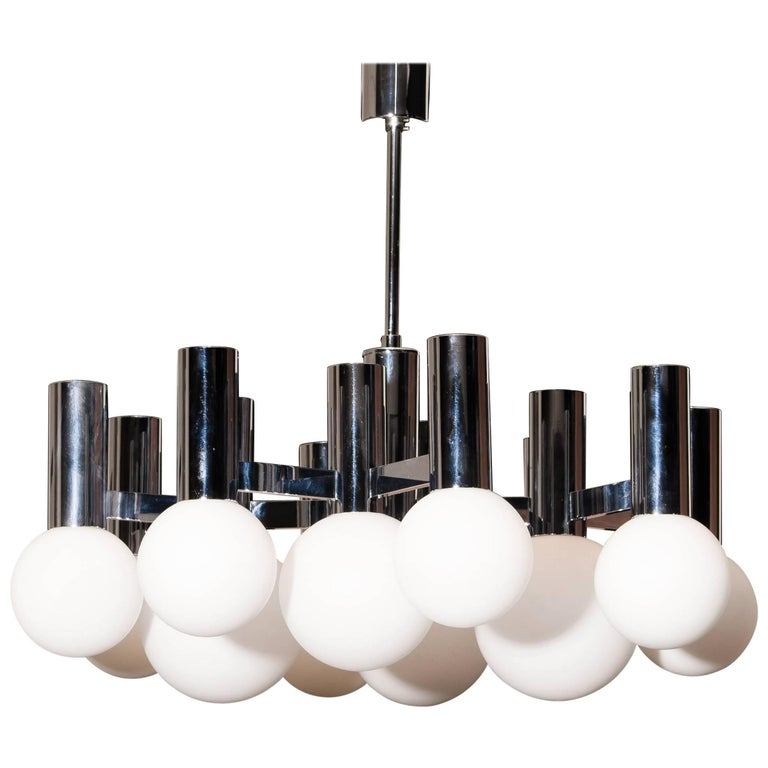 1970s, Chrome and Glass 'Modernist' Chandelier Pendant by Sciolari