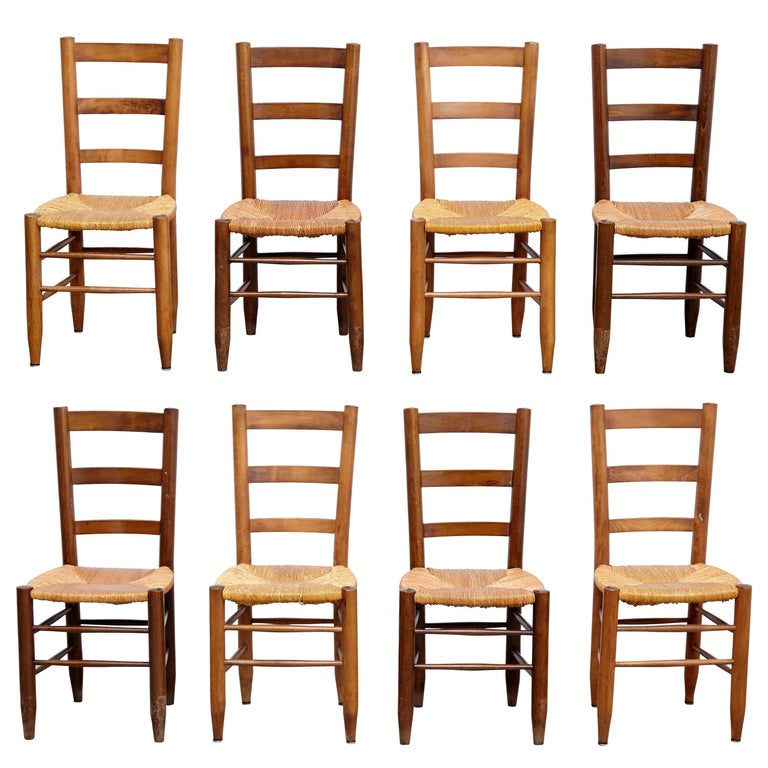Set Of Eight Charlotte Perriand N 19 Chairs For Sale At 1stdibs