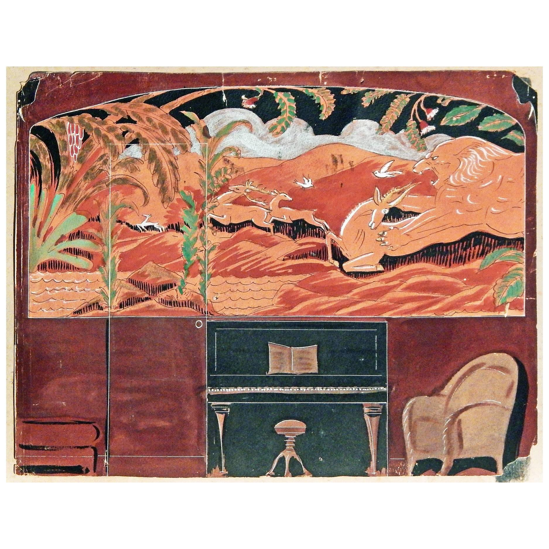 """""""Lion and Gazelle,"""" Fabulous Art Deco Mural Study in Black and Rust"""