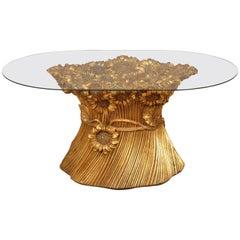 Regency Golden Sunflower Coffee Table, Italy, Morex, 1970