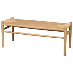 Jørgen Bækmark Bench, New Oak and Paper Cord, Danish Design, Model J83B