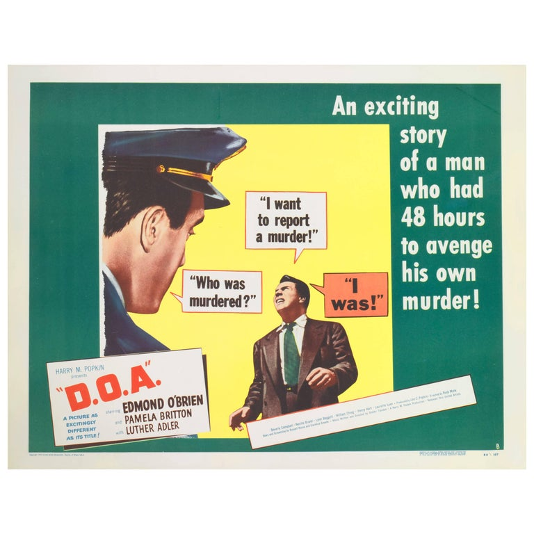 """""""D.O.A ? Dead on Arrival"""", US Movie Poster"""