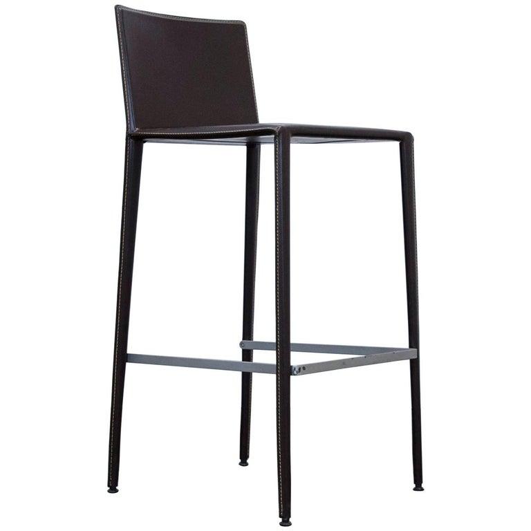 Arper Leather Bar Chair Brown Modern Swiss Air Lounge