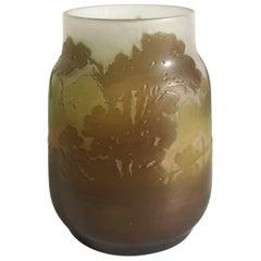 Art Nouveau Emile Galle Cameo Landscape Vase