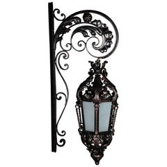 Unique Wrought Iron Hanging Lantern Wall Lamp, Historicism