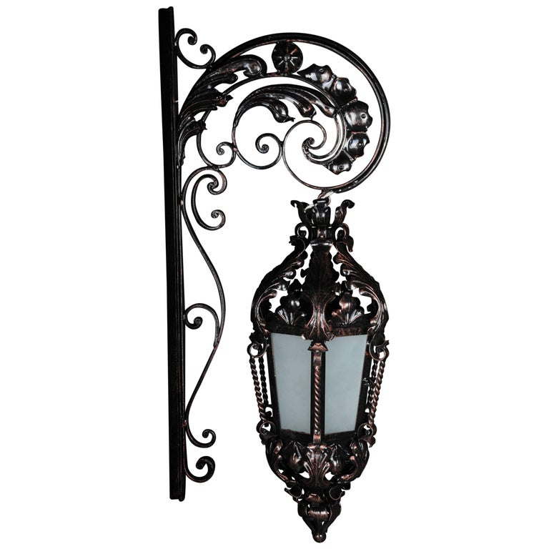 Unique Wrought Iron Hanging Lantern Wall Lamp Historicism For Sale