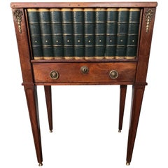 Empire Style Mahogany End Table with Faux Books Rolling Shutter Door and Drawer