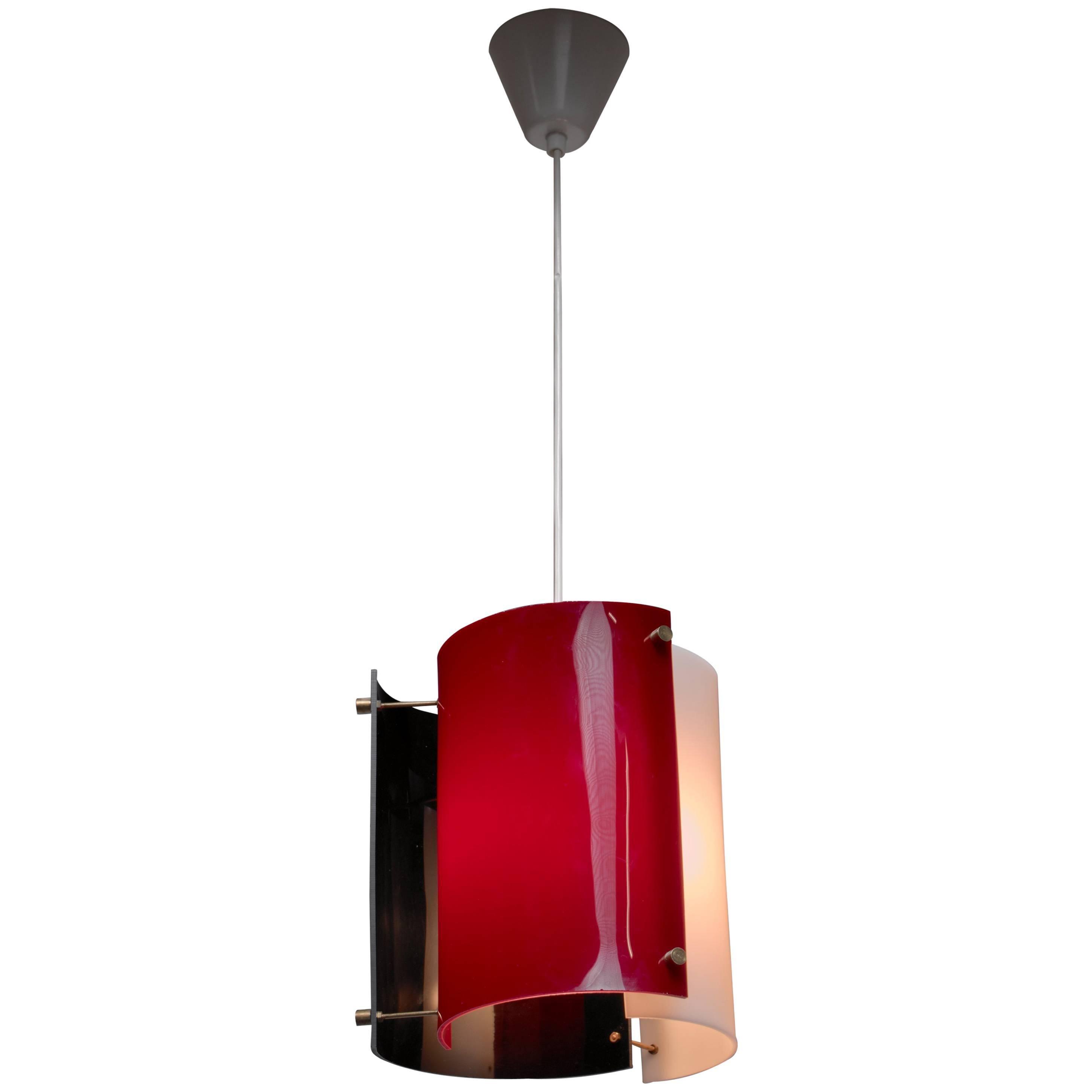 Yki Nummi Plexiglass Pendant Lamp for Orno, Finland, 1960s