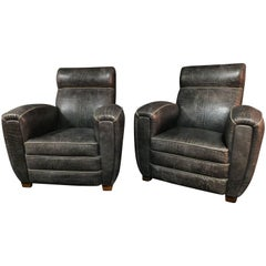 Two Club Chair Croco Style Art Deco