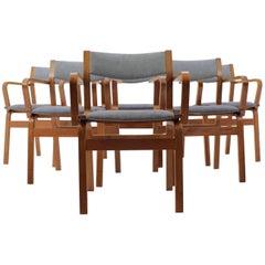 Set of Six Teak Danish Bentwood Plywood Chairs