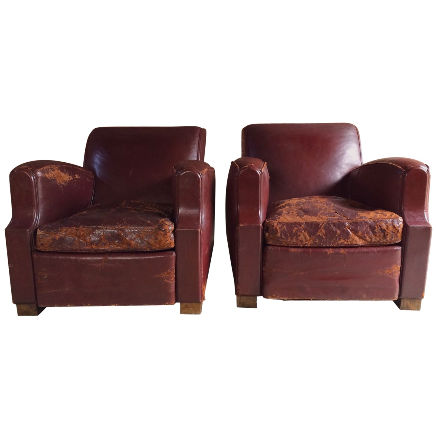 French Club Chairs Armchairs Moustache Cigar Art Deco Pair Of